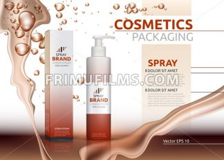 Vector Spray natural products realistic bottles. Mockup 3D illustration. Cosmetic package ads template. Splash Water effect backgrounds - frimufilms.com