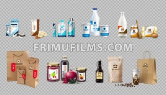 Vector realistic food products milk and honey bottles, eggs, jam, choco bars, coffee, energy drink packaging. 3d detailed mock up label design - frimufilms.com