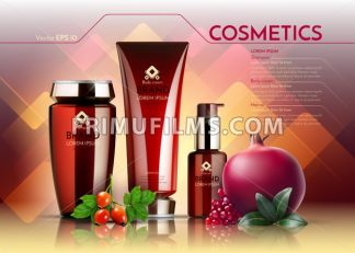 Cosmetics Vector realistic package ads template. Face cream and hair products bottles. Pomegranate and egglantine extract. Organic set Mockup 3D illustration - frimufilms.com
