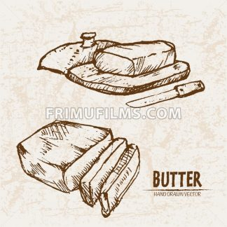 Digital vector detailed line art butter slices with knife hand drawn retro illustration collection set. Thin artistic pencil outline. Vintage ink flat, engraved mill doodle sketches. Isolated - frimufilms.com