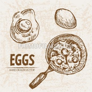 Digital vector detailed line art cooking eggs in frying pan hand drawn retro illustration collection set. Thin artistic pencil outline. Vintage ink flat, engraved mill doodle sketches. Isolated - frimufilms.com