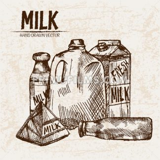 Digital vector detailed line art milk in different packages hand drawn retro illustration collectiona set. Thin artistic pencil outline. Vintage ink flat, engraved mill doodle sketches. Isolated - frimufilms.com