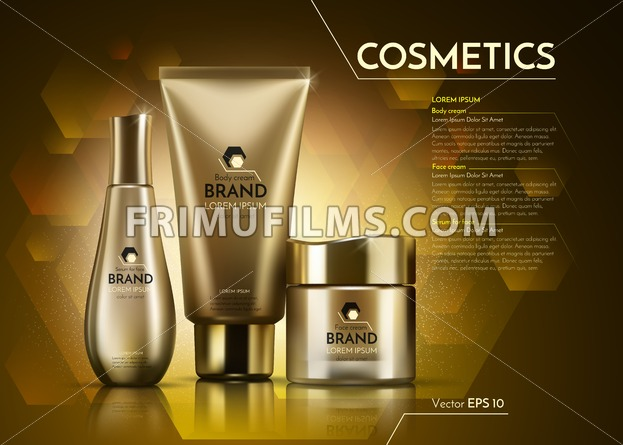 Gold Cosmetics Vector realistic package ads template. Face and body cream products bottles. Mockup 3D illustration. Sparkling background - frimufilms.com