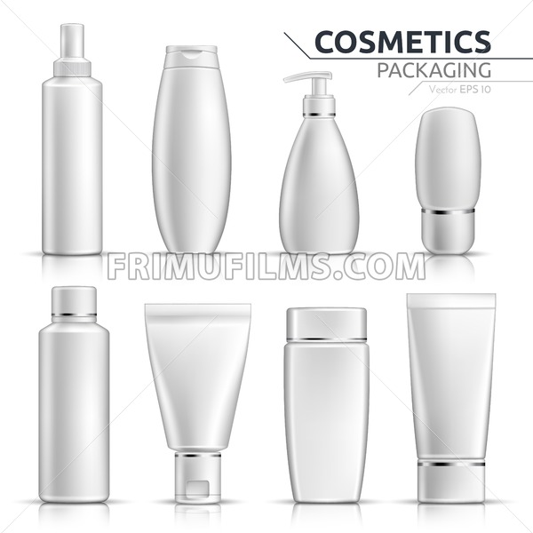 Realistic Cosmetic bottles mock up set on white background. Blank templates of empty and clean white plastic containers. Vector packaging tubes collection - frimufilms.com