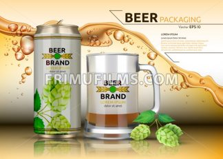 Vector Realistic beer metallic bottle and mug. Brand packaging template. Logo design. Splash beer background - frimufilms.com