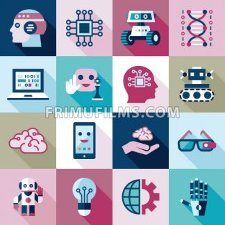 Digital vector artificial intelligence and electronic technologies simple flat icon set. Internet of things concept with chip, cars and mobile brain. Ideas, glasses with camera, games and robots. - frimufilms