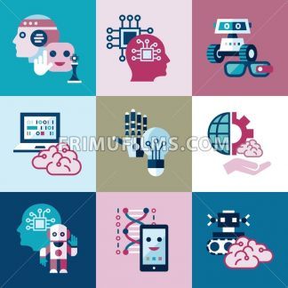 Digital vector artificial intelligence and electronic technologies simple flat icon set. Internet of things concept with chip, cars and mobile brain. Ideas, glasses with camera, games and robots. - frimufilms.com