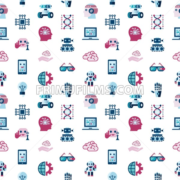 Digital vector artificial intelligence and electronic technologies simple flat icon set. Internet of things concept with chip, cars and mobile brain. Ideas, glasses with camera, seamless pattern. - frimufilms.com