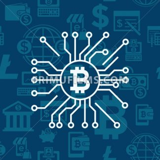 Digital vector bitcoin cryptocurrency and electronic money payments transfer icons set. Litecoin, ethereum, mining pools, blockchain and virtual trading. Circuit spider - frimufilms.com