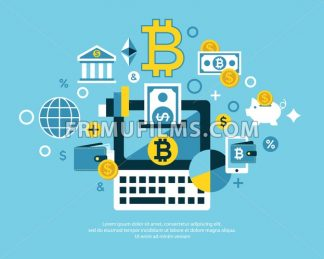 Digital vector bitcoin cryptocurrency and electronic money payments transfer icons set. Litecoin, ethereum, mining pools, blockchain and virtual trading. Financial notebook - frimufilms.com