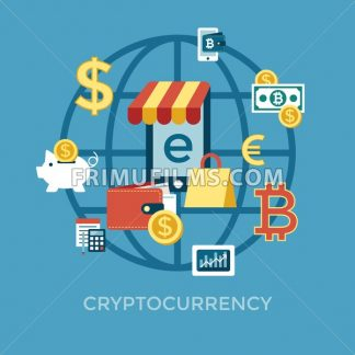 Digital vector bitcoin cryptocurrency and electronic money payments transfer icons set. Litecoin, ethereum, mining pools, blockchain and virtual trading. Financial sales - frimufilms.com