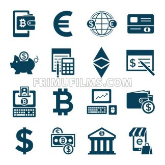 Digital vector bitcoin cryptocurrency and electronic money payments transfer icons set. Litecoin, ethereum, mining pools, blockchain and virtual trading. Financial technologies - frimufilms