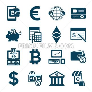 Digital vector bitcoin cryptocurrency and electronic money payments transfer icons set. Litecoin, ethereum, mining pools, blockchain and virtual trading. Financial technologies - frimufilms.com