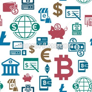 Digital vector bitcoin cryptocurrency and electronic money payments transfer icons set. Seamless pattern. Litecoin, ethereum, mining pools, blockchain and virtual trading. - frimufilms.com