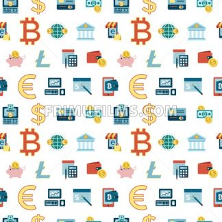 Digital vector bitcoin cryptocurrency and electronic money payments transfer icons set. Seamless pattern. Litecoin, ethereum, mining pools, blockchain and virtual trading. Financial technologies - frimufilms.com