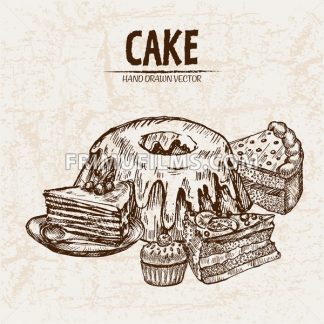 Digital vector detailed line art cake and pie slices with fruits hand drawn retro illustration collection set. Thin artistic pencil outline. Vintage ink flat, engraved design doodle sketches. Isolated - frimufilms.com