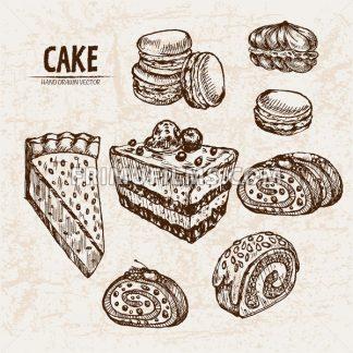 Digital vector detailed line art cake and roll slices with fruits hand drawn retro illustration collection set. Thin artistic pencil outline. Vintage ink flat, engraved design doodle sketches - frimufilms.com