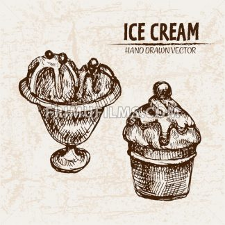 Digital vector detailed line art ice cream balls in bowls and hand drawn retro illustration collection set. Thin artistic pencil outline. Vintage ink flat, engraved design doodle sketches. Isolated - frimufilms.com