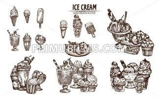 Digital vector detailed line art ice cream in cone and bowl hand drawn retro illustration collection set bundle. Thin artistic pencil outline. Vintage ink flat, engraved design doodle sketches - frimufilms.com