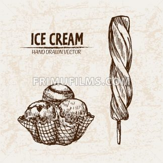 Digital vector detailed line art ice cream in cone and stick hand drawn retro illustration collection set. Thin artistic pencil outline. Vintage ink flat, engraved design doodle sketches. Isolated - frimufilms.com