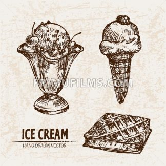 Digital vector detailed line art ice cream in waffle cone and bowl hand drawn retro illustration collection set. Thin artistic pencil outline. Vintage ink flat, engraved design doodle sketches - frimufilms.com