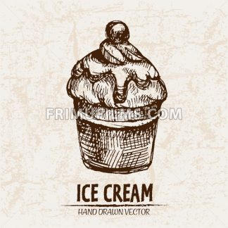 Digital vector detailed line art ice cream in waffle cone hand drawn retro illustration collection set. Thin artistic pencil outline. Vintage ink flat, engraved design doodle sketches. Isolated - frimufilms.com