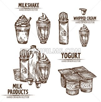 Digital vector detailed line art milk, milkshake, whipped cream and yogurt in different packages hand drawn retro illustration collection set. Thin artistic pencil outline. Vintage ink flat - frimufilms.com