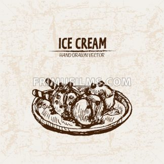 Digital vector detailed line art ornamented ice cream balls hand drawn retro illustration collection set. Thin artistic pencil outline. Vintage ink flat, engraved design doodle sketches. Isolated - frimufilms.com