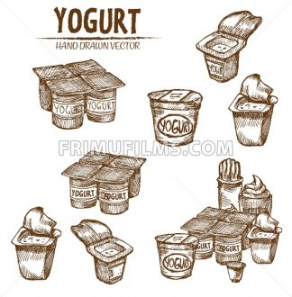 Digital vector detailed line art packed yogurt hand drawn retro illustration collection set. Thin artistic pencil outline. Vintage ink flat, engraved mill doodle sketches. Isolated - frimufilms.com