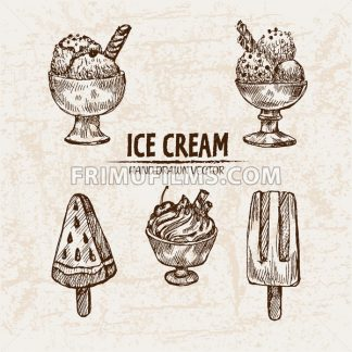 Digital vector detailed line art random ice cream with cream hand drawn retro illustration collection set. Thin artistic pencil outline. Vintage ink flat, engraved design doodle sketches. Isolated - frimufilms.com