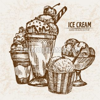 Digital vector detailed line art random ornamented ice cream hand drawn retro illustration collection set. Thin artistic pencil outline. Vintage ink flat, engraved design doodle sketches. Isolated - frimufilms.com