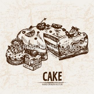 Digital vector detailed line art sliced cake with fruits hand drawn retro illustration collection set. Thin artistic pencil outline. Vintage ink flat, engraved design doodle sketches. Isolated - frimufilms.com