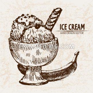 Digital vector detailed line art sundae ice cream banana in glass bowl hand drawn retro illustration collection set. Thin artistic pencil outline. Vintage ink flat, engraved design doodle sketches - frimufilms.com