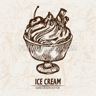 Digital vector detailed line art sundae ice cream in glass bowl hand drawn retro illustration collection set. Thin artistic pencil outline. Vintage ink flat, engraved design doodle sketches. Isolated - frimufilms.com
