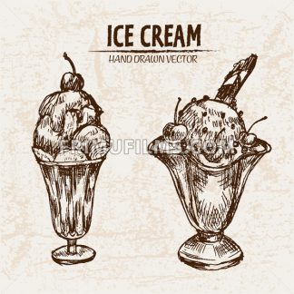 Digital vector detailed line art sundae ice cream in glass bowls hand drawn retro illustration collection set. Thin artistic pencil outline. Vintage ink flat, engraved design doodle sketches - frimufilms.com