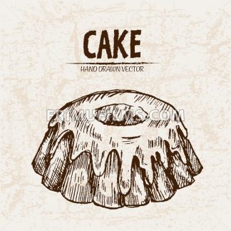 Digital vector detailed line art volcano cake with cream hand drawn retro illustration collection set. Thin artistic pencil outline. Vintage ink flat, engraved design doodle sketches. Isolated - frimufilms.com