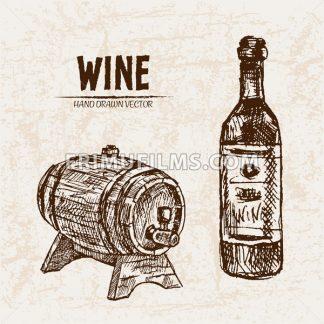 Digital vector detailed line art wine bottle and wood barrel hand drawn retro illustration collection set. Thin artistic pencil outline. Vintage ink flat, engraved design doodle sketches. Isolated - frimufilms.com