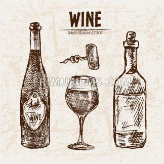 Digital vector detailed line art wine bottle, wineglass and opener hand drawn retro illustration collection set. Thin artistic pencil outline. Vintage ink flat, engraved design doodle sketches - frimufilms.com