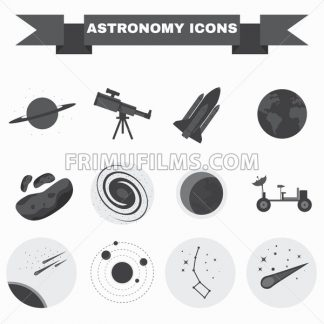 Astronomy Flat Vector Icons Set. Science objects for infographics, flyers, banners, brochures, books or booklets. Digital Illustrations on a space theme. Universe, galaxies and stars. - frimufilms.com