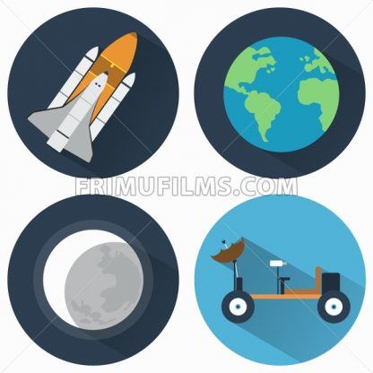 Astronomy Icons Set. Earth and Moon and Rocket. Moon rover for exploring different planets. Objects used for education manuals and science books, banners and flyers. - frimufilms.com