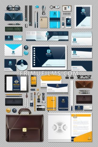 Business corporate identity stationary items set. Vector working articles phone, tablet, maps, cards with brand logos. Work Stuff Stationery 3d realistic collection set - frimufilms.com