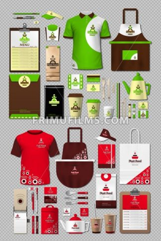 Business fastfood corporate identity items set. Vector fastfood Color promotional uniform, apron, menu, timetable, coffee cups design with logos. Work Stuff Stationery realistic collection - frimufilms.com