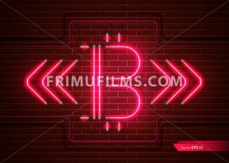 Digital Vector Bitcoin neon light. Detailed cryptocurrency illustration on brick wall background - frimufilms.com