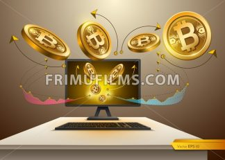 Digital Vector Bitcoin spread from Computer. Detailed cryptocurrency illustration with chart diagram graphic - frimufilms.com