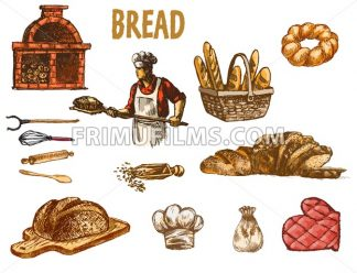 Digital color vector baker in red shirt with chef hat holding a wooden paddle with bread on it, bakery utensils, brick oven with woods hand drawn set. Vintage engraved doodle sketches. Isolated - frimufilms.com