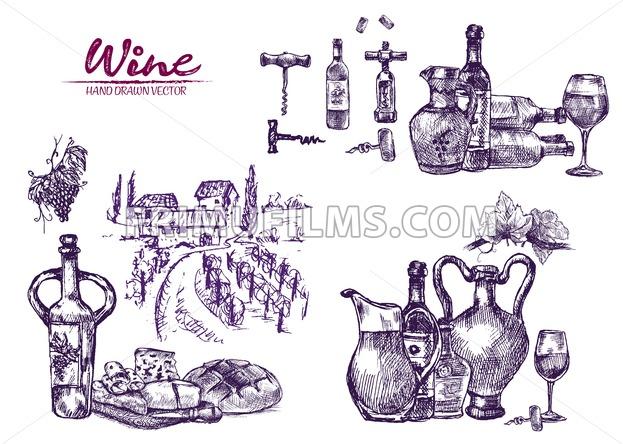Digital color vector bundle set detailed line art vintage purple wooden wine barrels stacked hand drawn illustration set. Thin artistic pencil outline. Vintage ink flat, engraved doodle sketches - frimufilms.com