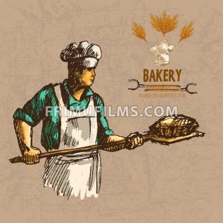 Digital color vector detailed line art baker in cyan shirt with chef hat holding a wooden paddle with bread on it hand drawn illustration set. Vintage ink flat, engraved doodle sketches. Isolated - frimufilms.com