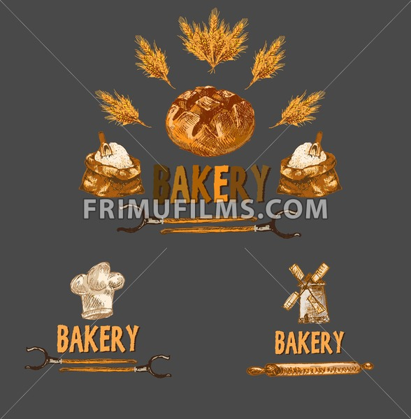Digital color vector detailed line art golden bakery sign with wheat and oven forks hand drawn set. Thin pencil artistic outline. Vintage ink flat, mill doodle bakery sketches. Isolated - frimufilms.com