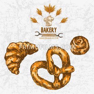 Digital color vector detailed line art golden croissant, roll, pretzel, wheat, oven forks and chef hat hand drawn illustration set. Vintage ink flat, engraved mill doodle bakery sketches. Isolated - frimufilms.com