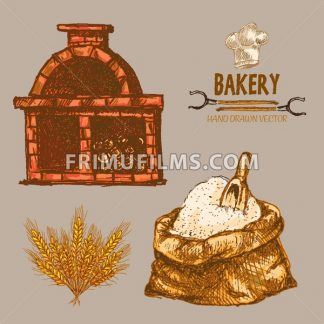 Digital color vector detailed line art golden flour sack with scoop and red brick oven with woods prepared for fire, wheat hand drawn illustration set. Vintage ink engraved doodle sketches. Isolated - frimufilms.com